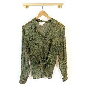 Tess Vintage 100% Silk Green Animal Print Blouse